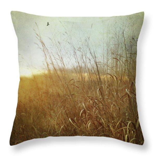 Tall Grass Growing In Late Autumn Throw Pillow by Sandra Cunningham
