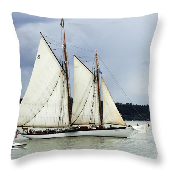 Tall Ship Tacoma Throw Pillow by Bob Christopher