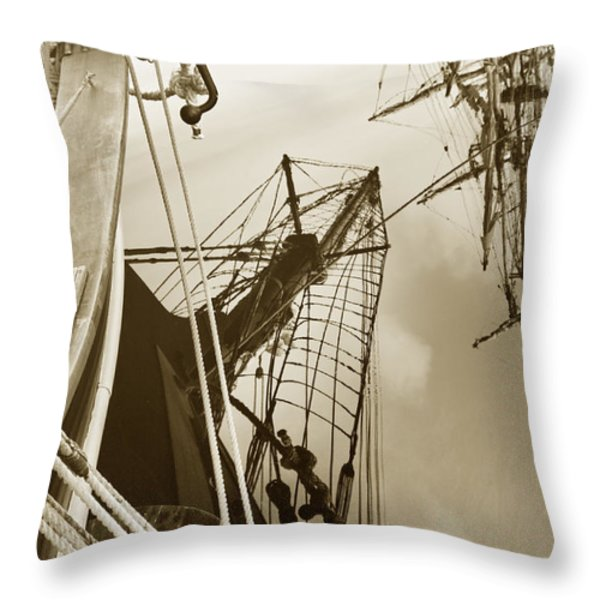 Tall Ships Reflected Throw Pillow by Robert Lacy