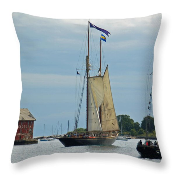 Tall Ships Sailing II Throw Pillow by Suzanne Gaff