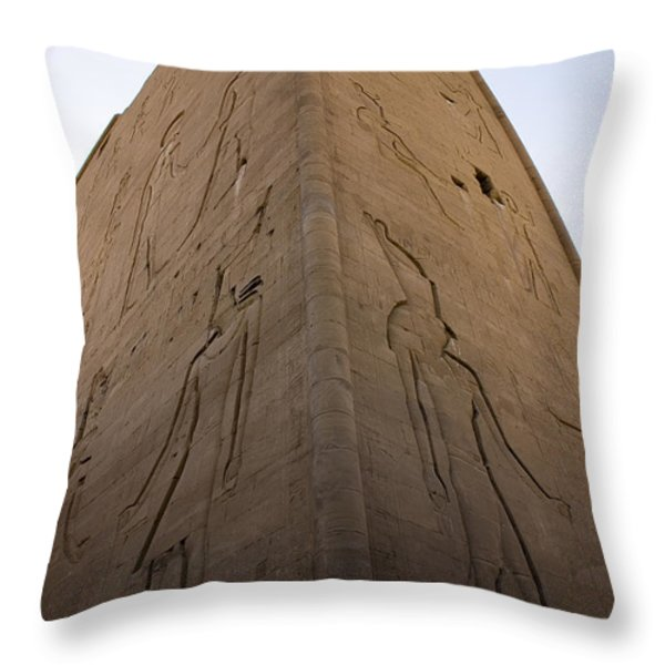 Tall Wall at Edfu Throw Pillow by Darcy Michaelchuk
