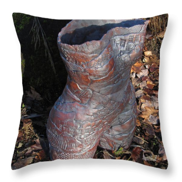 Tattoed Lady Throw Pillow by Marilyn Woods
