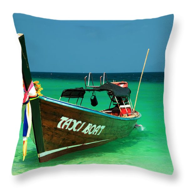 Taxi Boat Throw Pillow by Adrian Evans