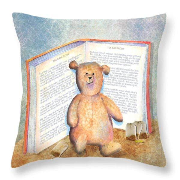 Tea Bag Teddy Throw Pillow by Arline Wagner