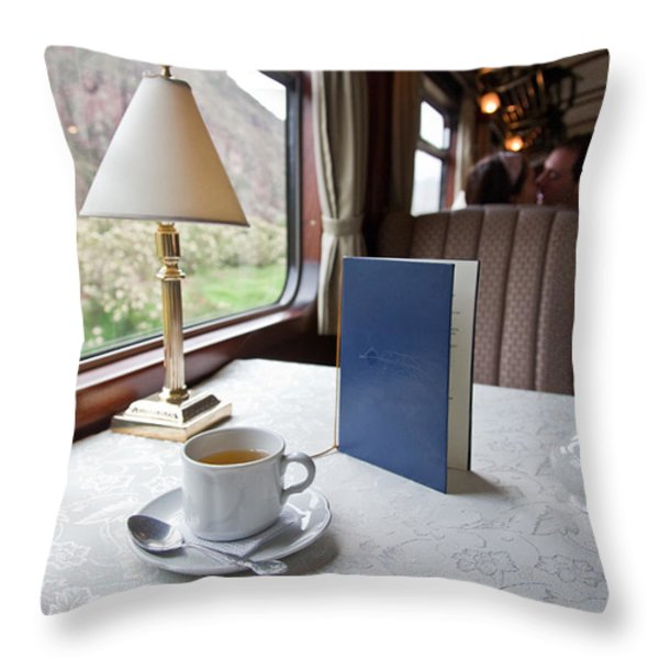 Tea Is Served By Peru Rail On The Way Throw Pillow by Michael &Amp Jennifer Lewis