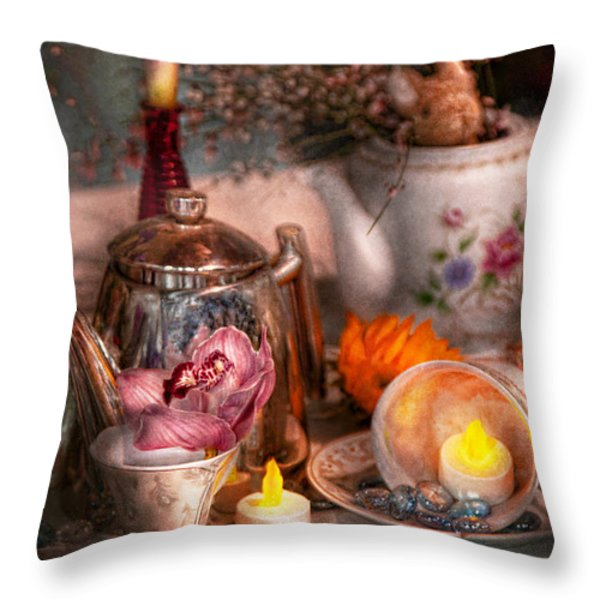 Tea Party - I would love to have some tea  Throw Pillow by Mike Savad