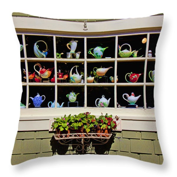 Tea pots in window Throw Pillow by Garry Gay