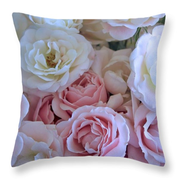 Tea Time Roses Throw Pillow by Carol Groenen