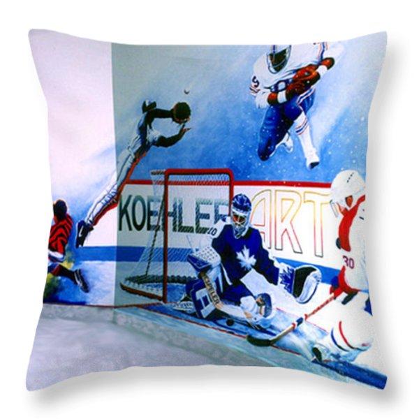 Team Sports Mural Throw Pillow by Hanne Lore Koehler