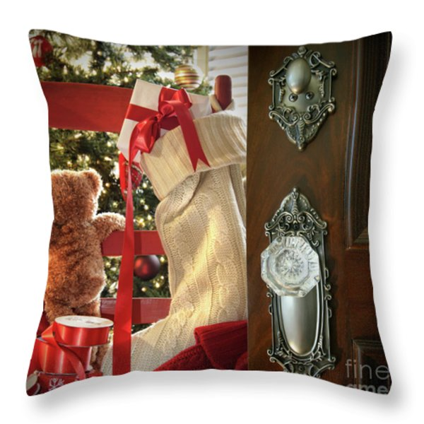 Teddy waiting for christmas time Throw Pillow by Sandra Cunningham
