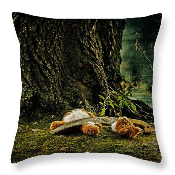 teddy with a saw Throw Pillow by Joana Kruse