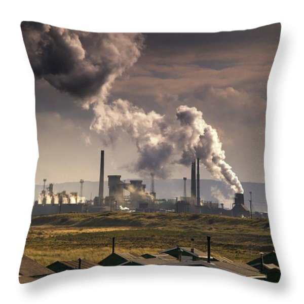 Teesside Refinery, England Throw Pillow by John Short