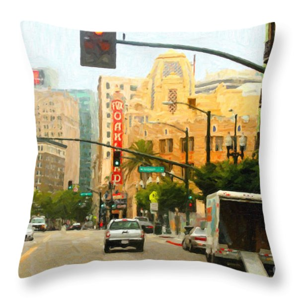 Telegraph Avenue In Oakland California Throw Pillow by Wingsdomain Art and Photography