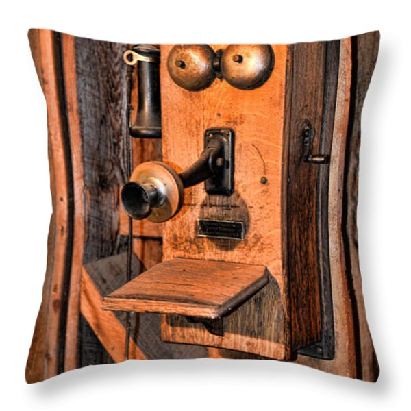 Telephone - Antique Hand Cranked Phone Throw Pillow by Paul Ward