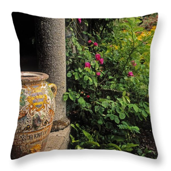 Temple And Garden Urn, The Wild Garden Throw Pillow by The Irish Image Collection