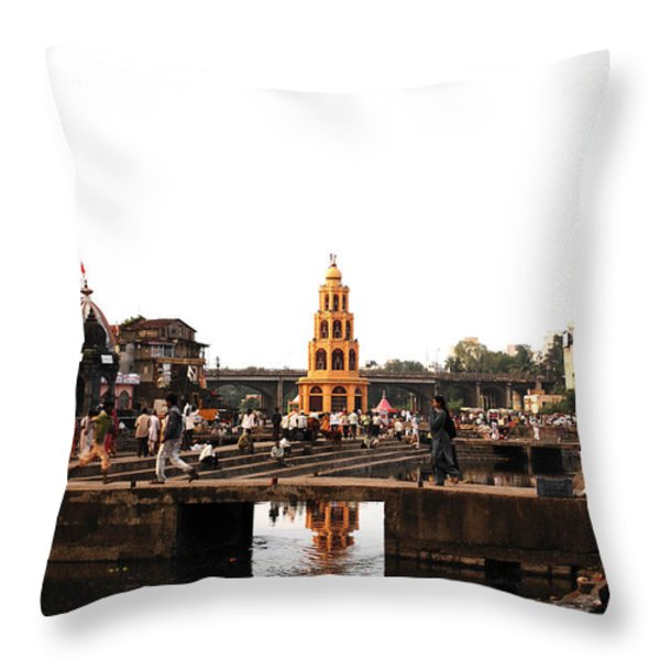 temple and the river in India Throw Pillow by Sumit Mehndiratta
