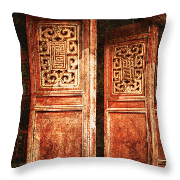 Temple Door Throw Pillow by Skip Nall