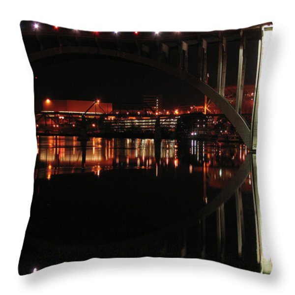 Tennessee River in Lights Throw Pillow by Douglas Stucky
