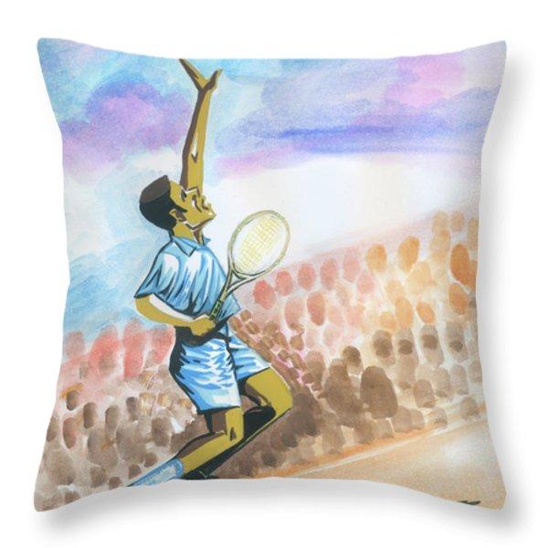Tennis 02 Throw Pillow by Emmanuel Baliyanga