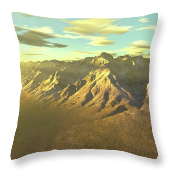 Terragen Render Of Mt. Whitney Throw Pillow by Rhys Taylor