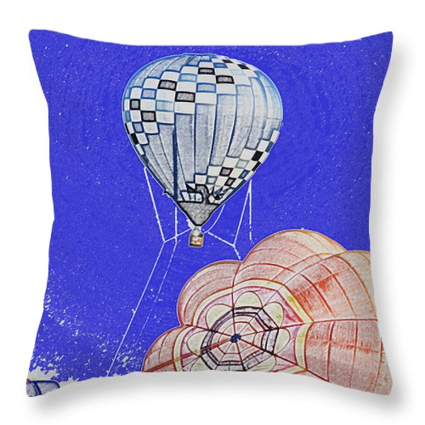 Tethered Hot Air Balloon Throw Pillow by Thomas Woolworth