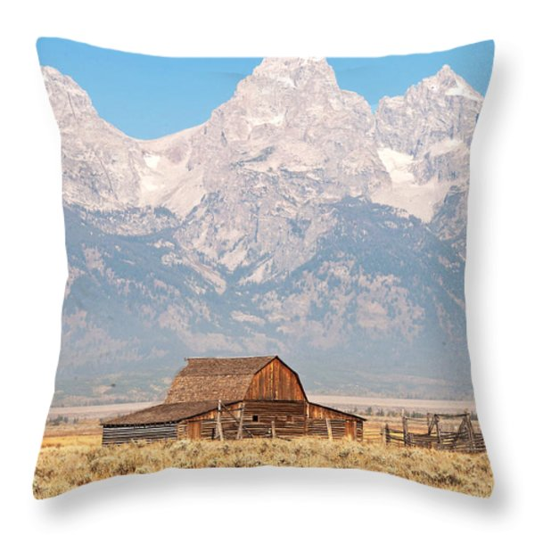 Teton Mormon Barn Throw Pillow by Bob and Nancy Kendrick