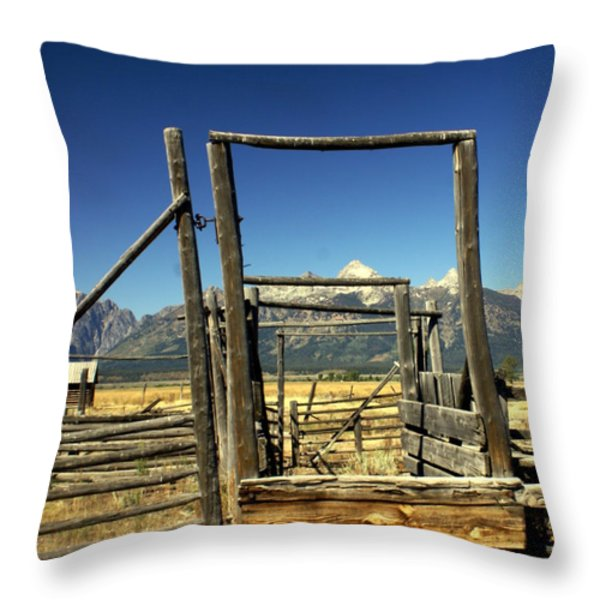 Teton Ranch Throw Pillow by Marty Koch