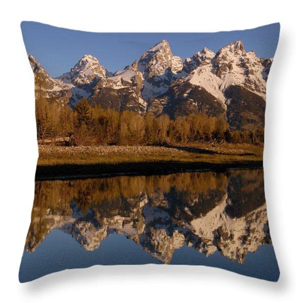 Teton Range, Grand Teton National Park Throw Pillow by Pete Oxford