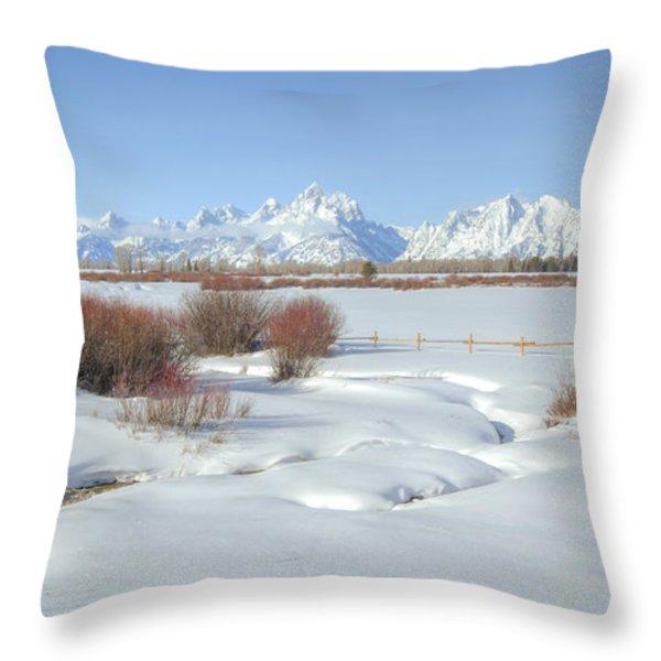Teton Snow Throw Pillow by Idaho Scenic Images Linda Lantzy