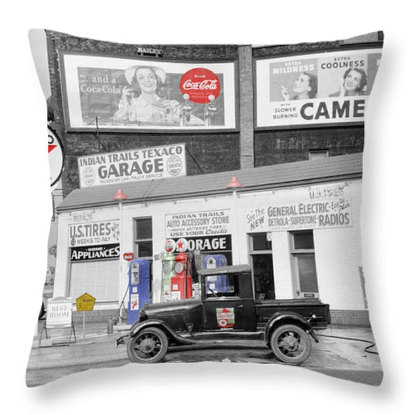 Texaco Station Throw Pillow by Andrew Fare