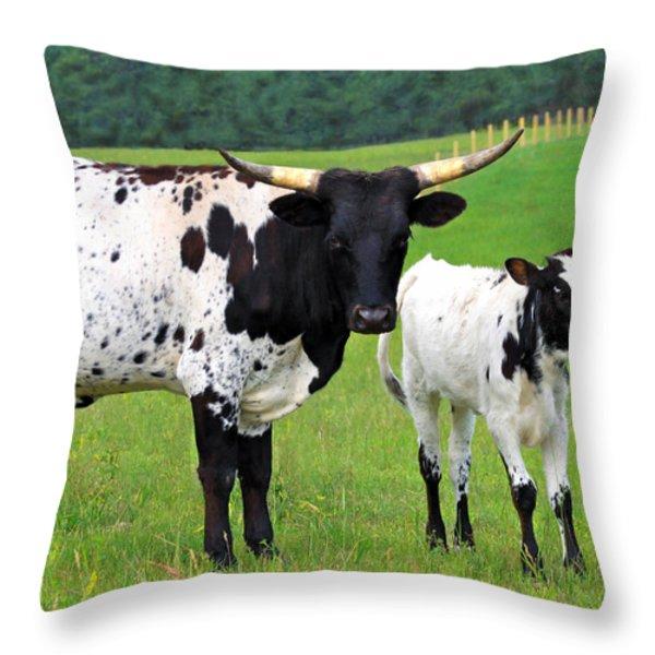 Texas Longhorn Cow And Calf Throw Pillow by Karon Melillo DeVega