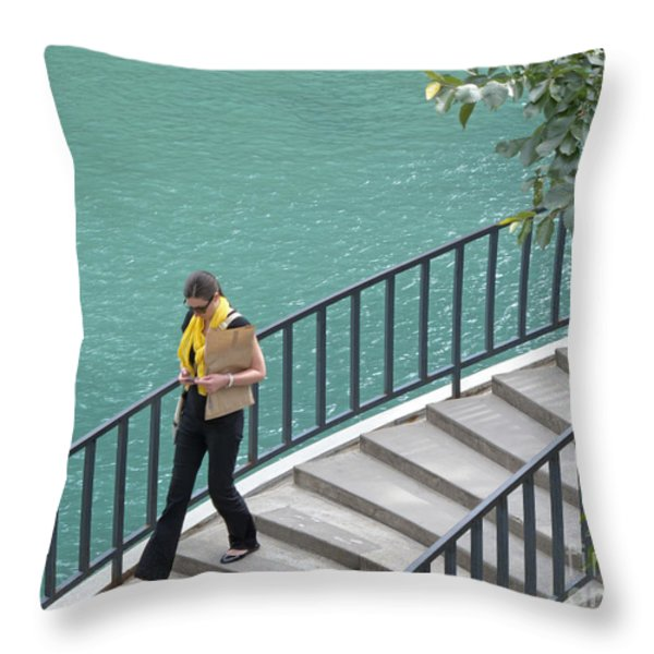 Texting as She Goes Throw Pillow by Ann Horn