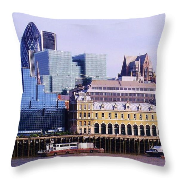 Thames and Financial District - London Throw Pillow by John Clark