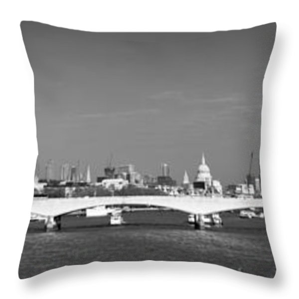 Thames panorama weather front clearing BW Throw Pillow by Gary Eason