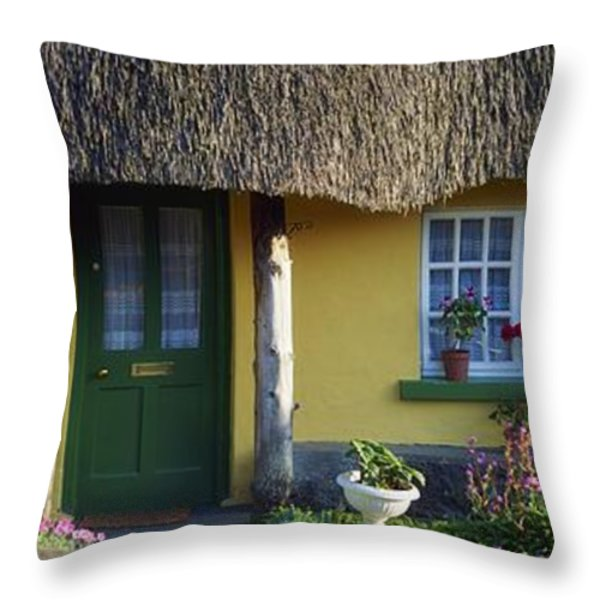 Thatched Cottage, Adare, Co Limerick Throw Pillow by The Irish Image Collection
