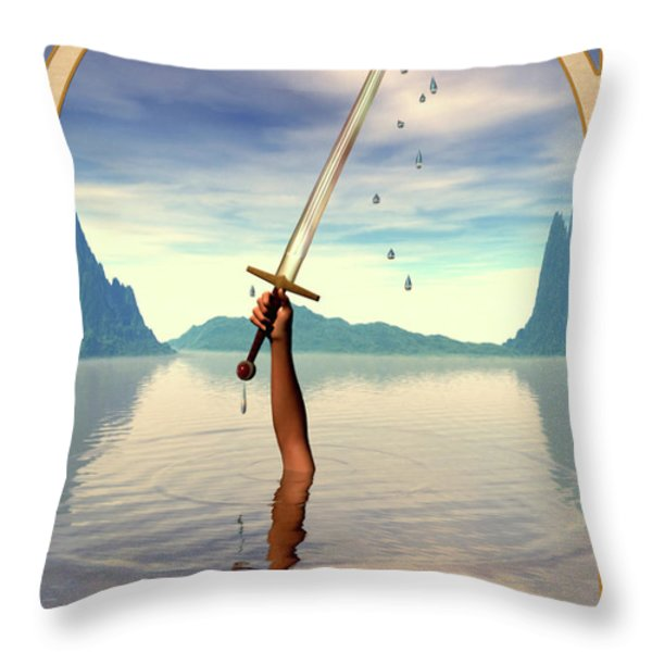 The Ace of Swords Throw Pillow by John Edwards