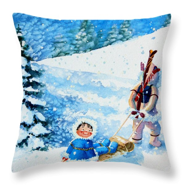 The Aerial Skier - 1 Throw Pillow by Hanne Lore Koehler