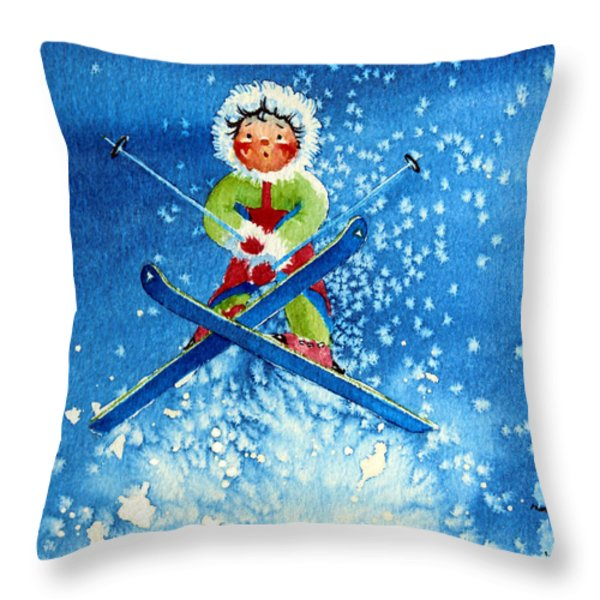 The Aerial Skier - 11 Throw Pillow by Hanne Lore Koehler