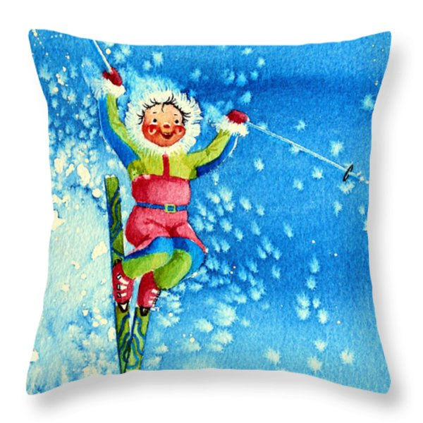 The Aerial Skier 12 Throw Pillow by Hanne Lore Koehler