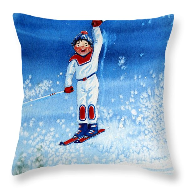 The Aerial Skier 15 Throw Pillow by Hanne Lore Koehler