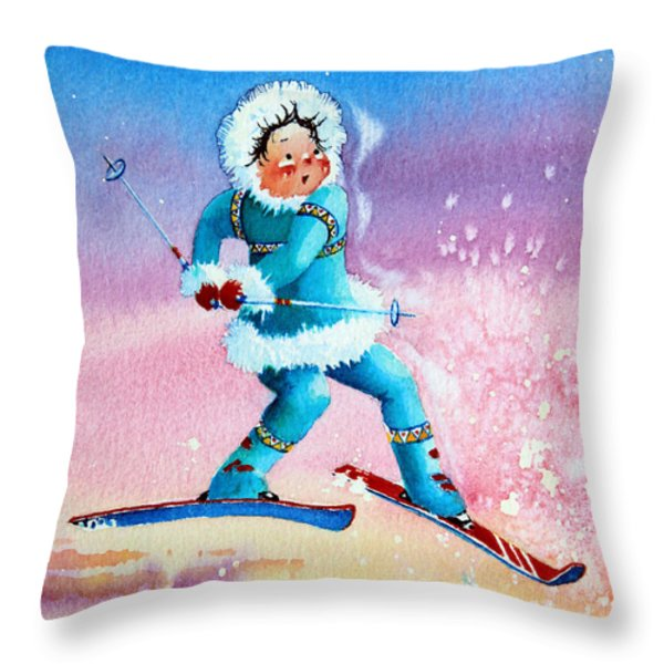 The Aerial Skier - 8 Throw Pillow by Hanne Lore Koehler
