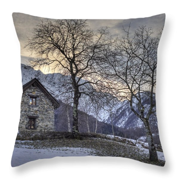 the alps in winter Throw Pillow by Joana Kruse