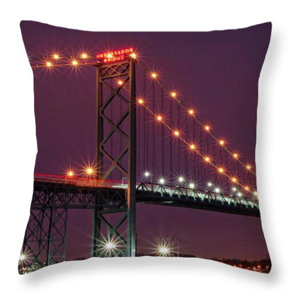 The Ambassador Bridge at Night - USA To Canada Throw Pillow by Gordon Dean II