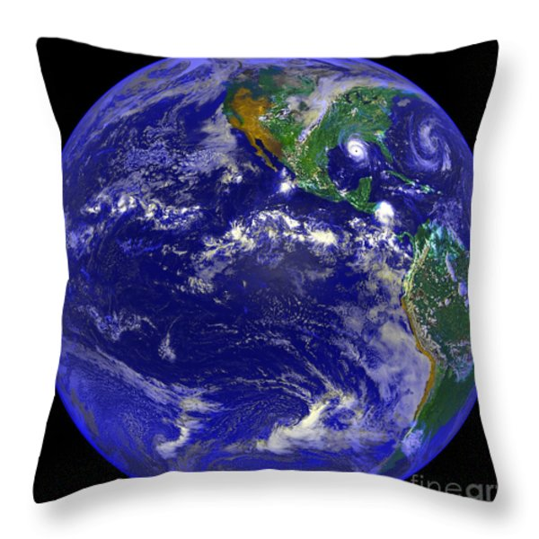 The Americas And Hurricane Andrew Throw Pillow by Stocktrek Images