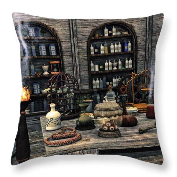 The Apothecary Throw Pillow by Jutta Maria Pusl