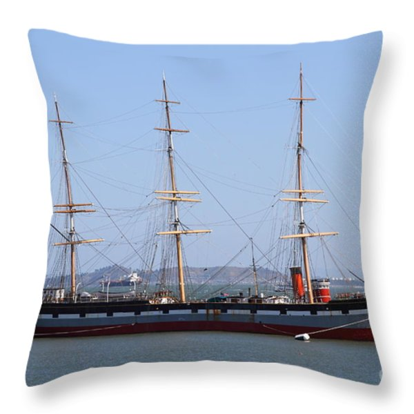 The Balclutha . A 1886 Square Rigged Cargo Ship At The Hyde Street Pier In Sf California . 7d14069 Throw Pillow by Wingsdomain Art and Photography