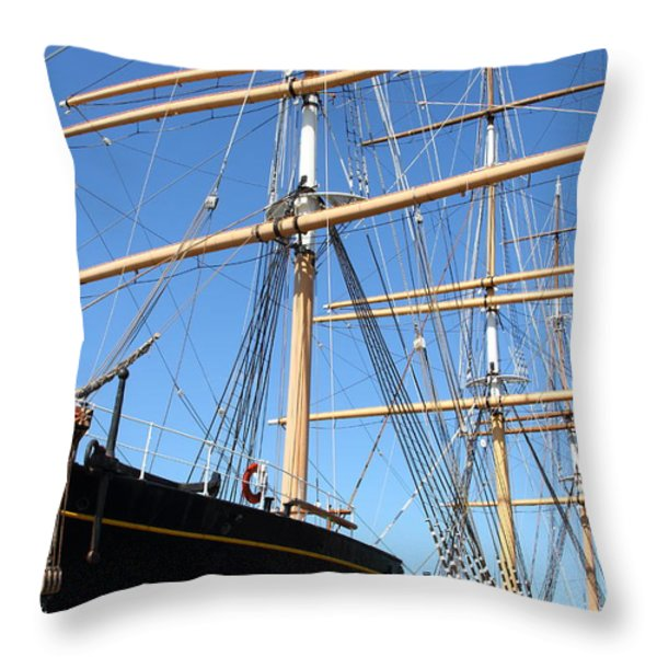 The Balclutha . A 1886 Square Rigged Cargo Ship At The Hyde Street Pier In Sf California . 7d14135 Throw Pillow by Wingsdomain Art and Photography