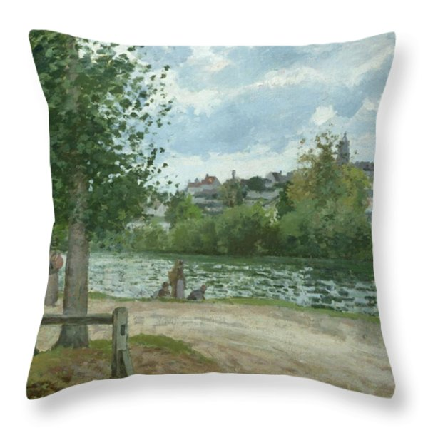 The Banks Of The Oise At Pontoise Throw Pillow by Camille Pissarro