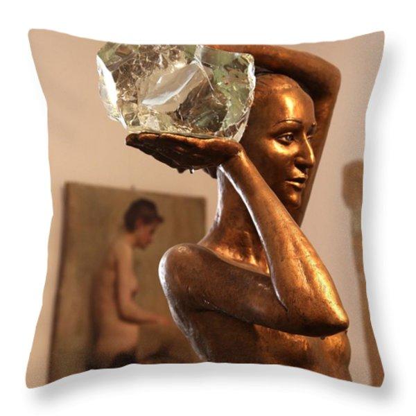 The Bather Throw Pillow by Enzie Shahmiri