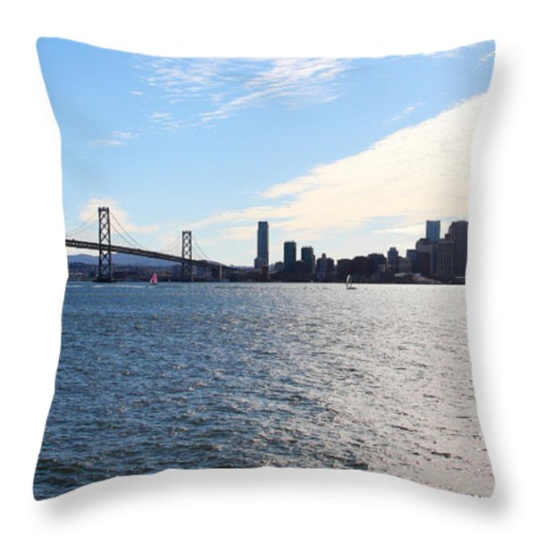 The Bay Bridge and The San Francisco Skyline Viewed From Treasure Island . 7D7771 Throw Pillow by Wingsdomain Art and Photography